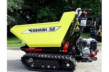 High tip tracked dumper capacity 500kg (approx 700mm wide).